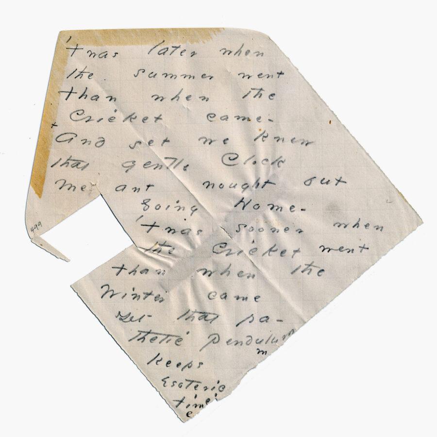 Poema manuscrito de Emily Dickinson