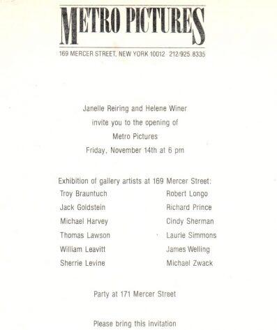 METRO PICTURES Invitacion inauguración 1981 Suit Magazine
