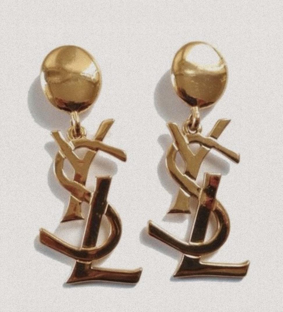 YSL vintage logo earrings